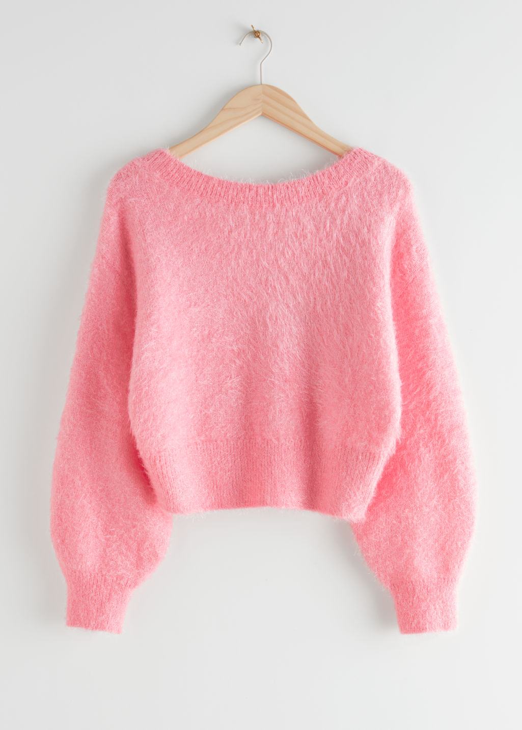 Relaxed Fuzzy V-Cut Back Sweater & Other Stories
