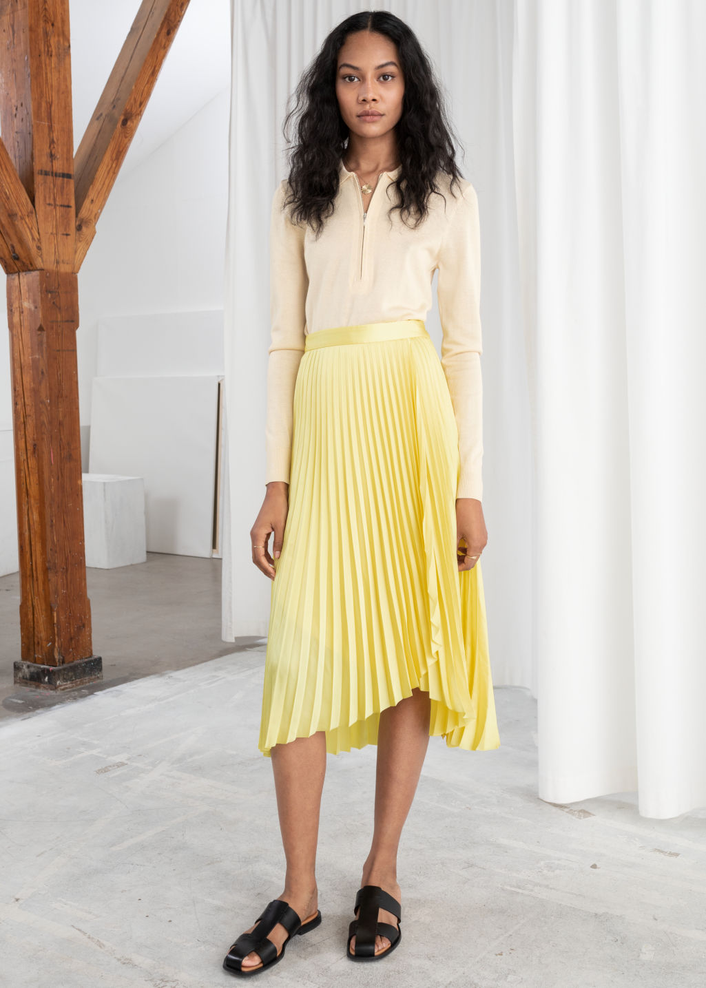 & Other Stories Pleated Wrap Midi Skirt