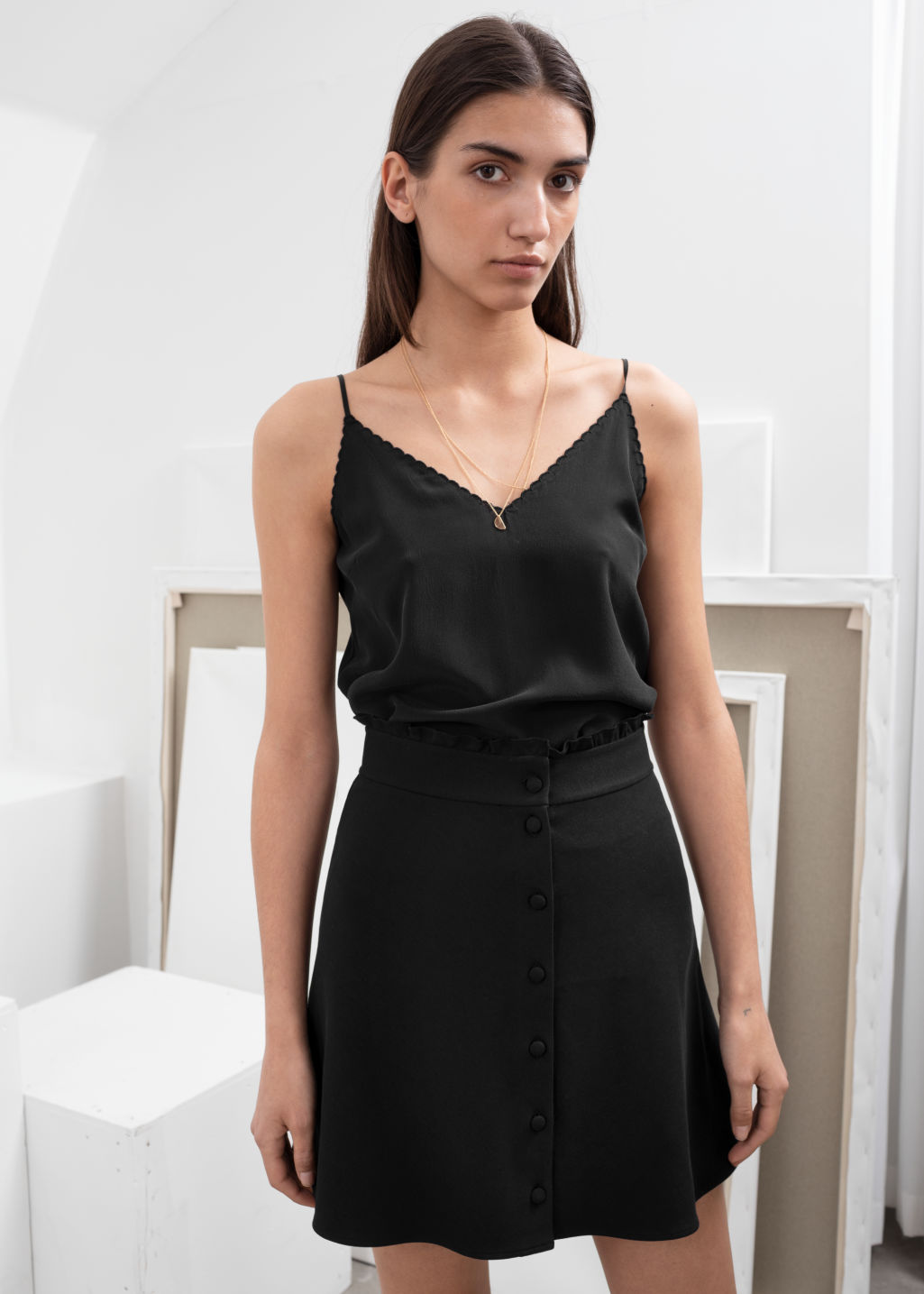 Ruffle waist cotton flared skirt