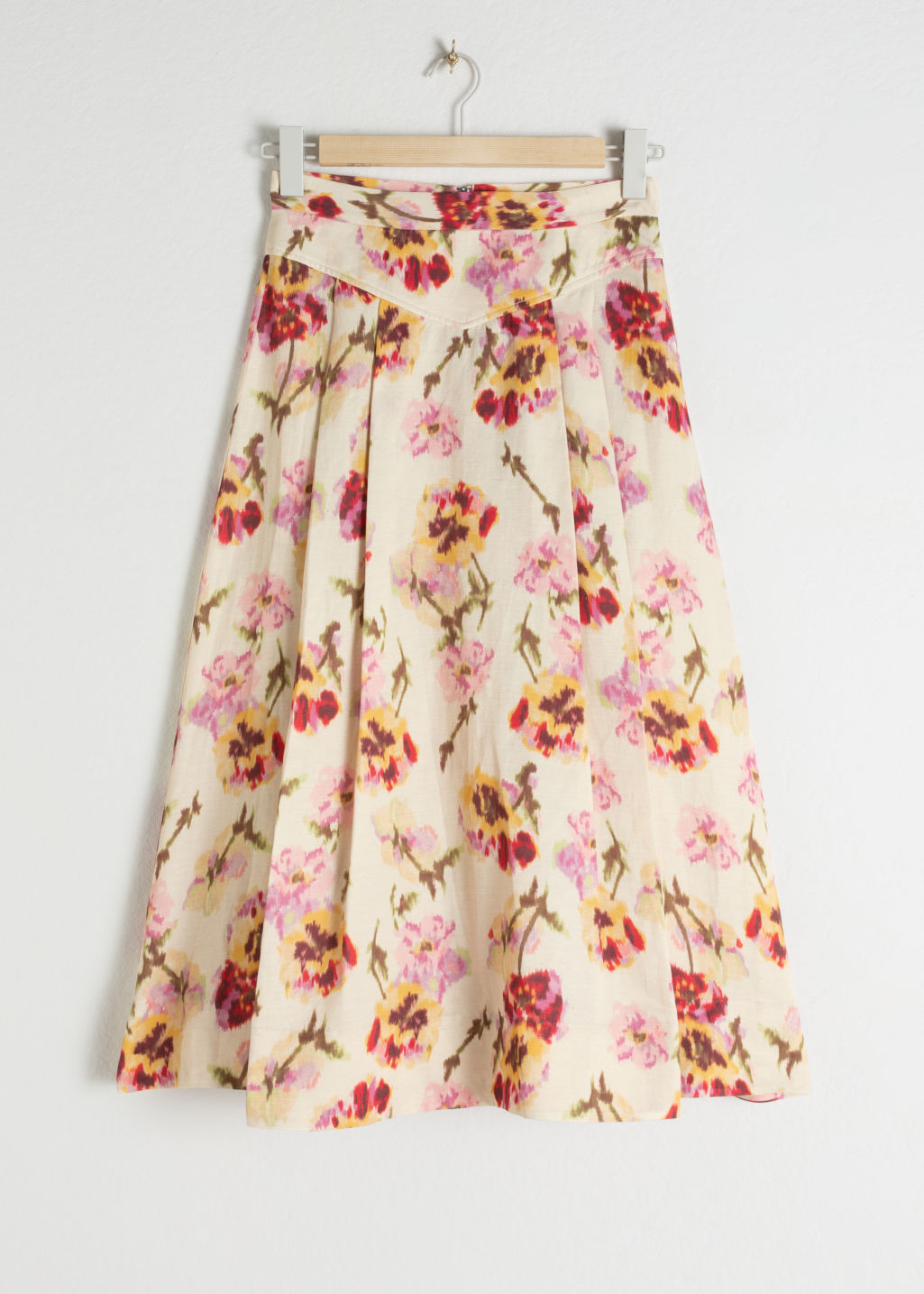 And Other Stories Floral Linen Blend Skirt
