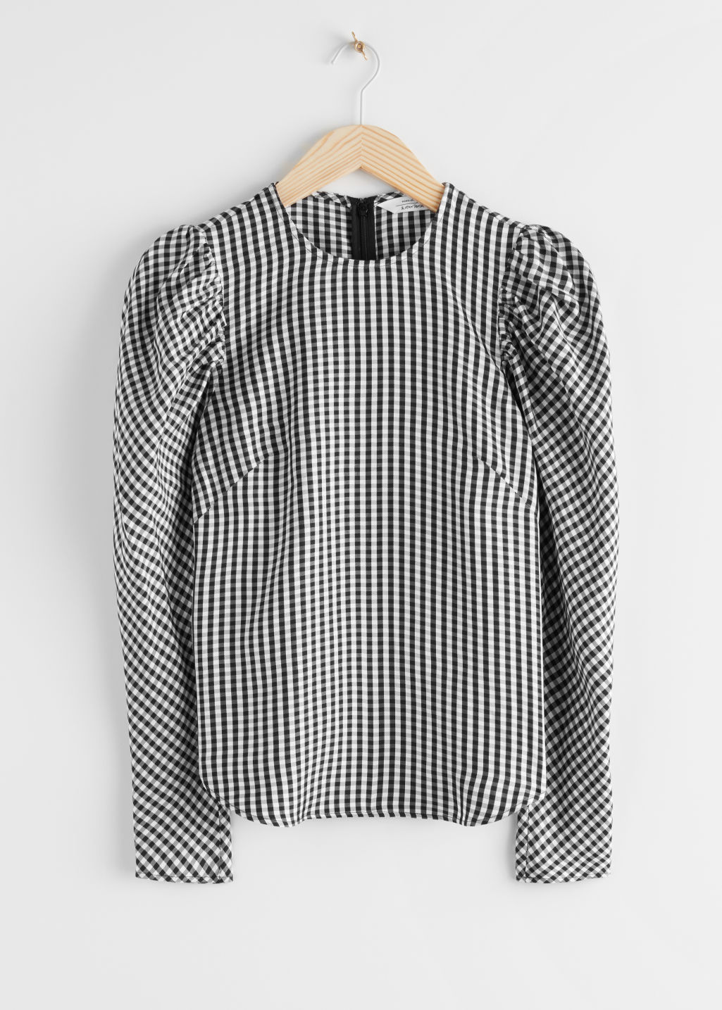 Black and white gingham jacquard puff sleeve top