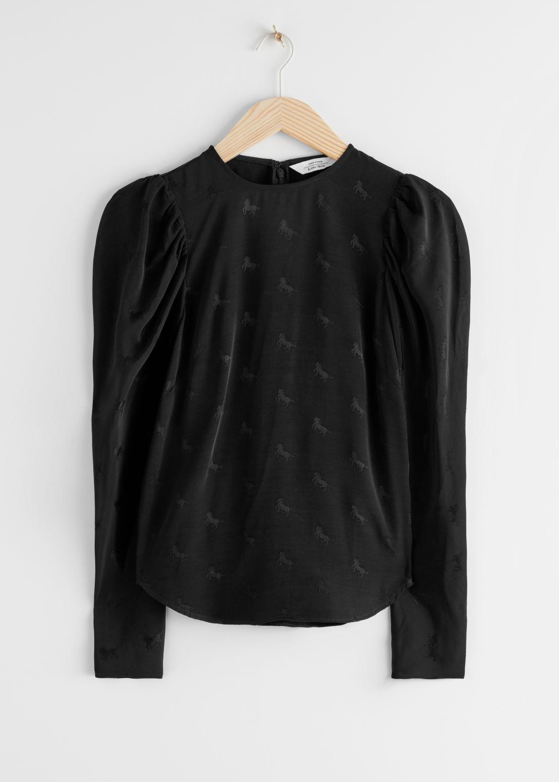 Black jacquard puff sleeve top