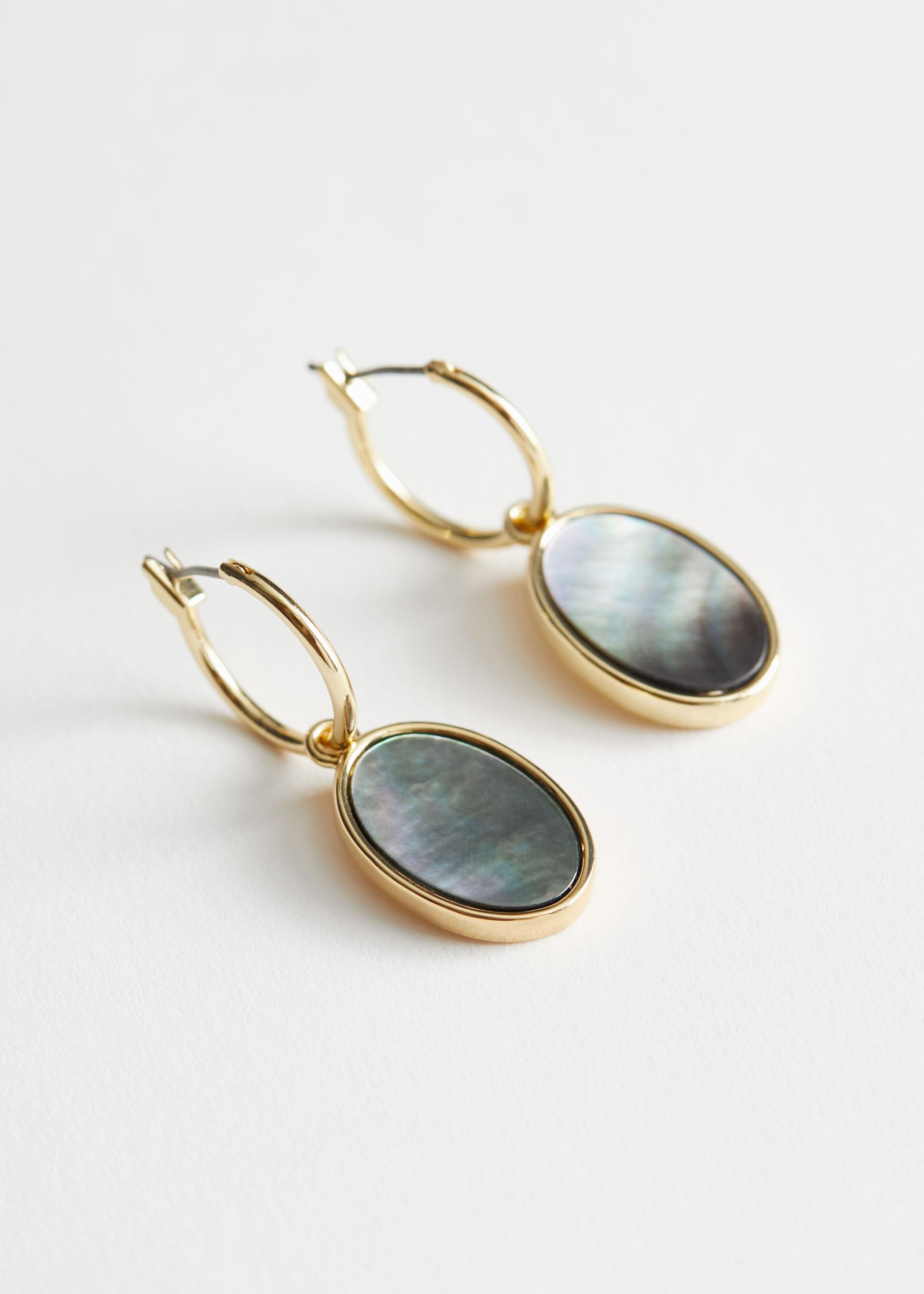 oval shell pendant hoop earrings