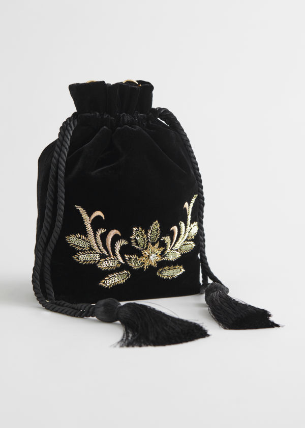 Embroidered Velvet Bag