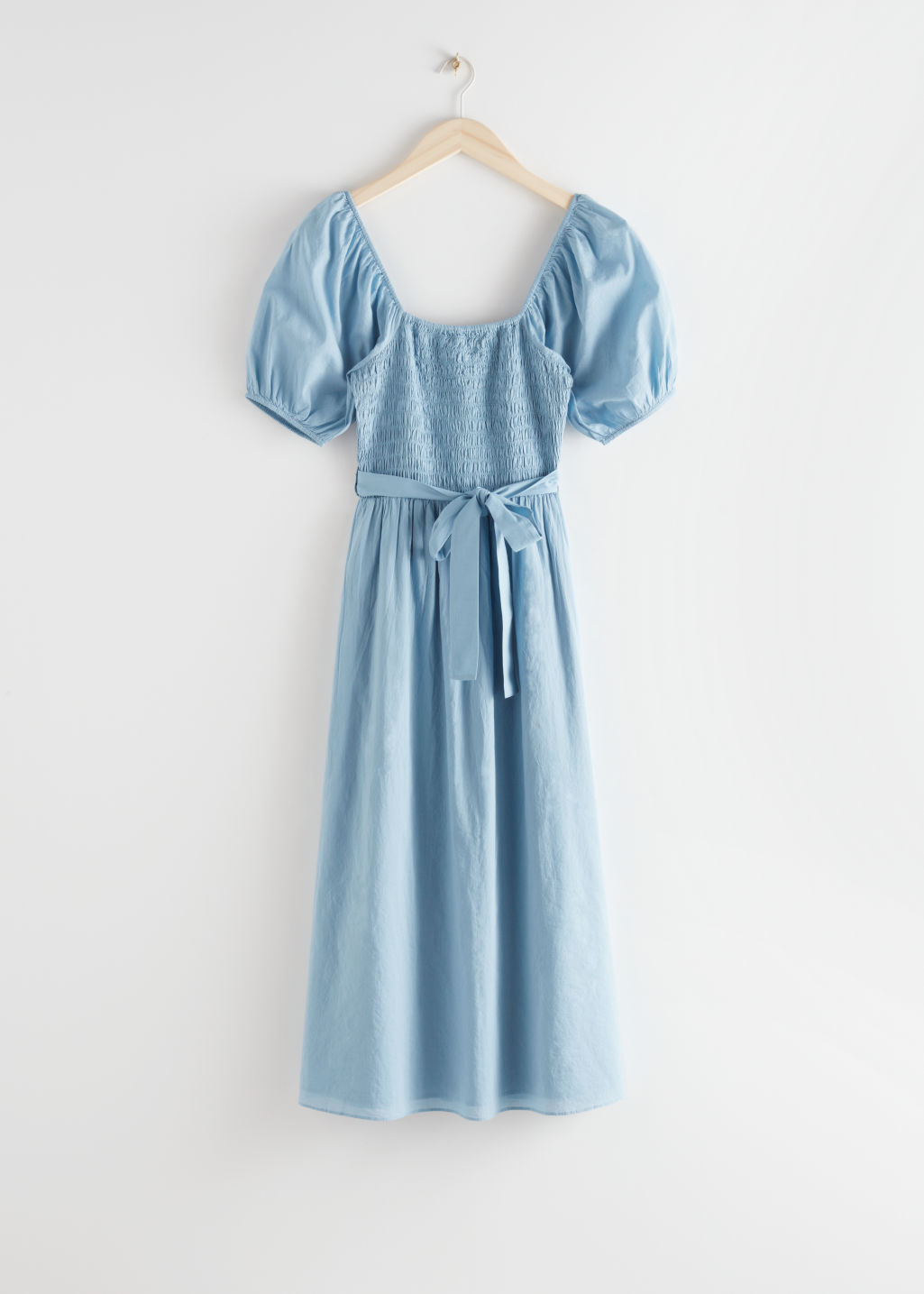 StillLife Front Image of Stories Belted Puff Sleeve Midi Dress in Blue