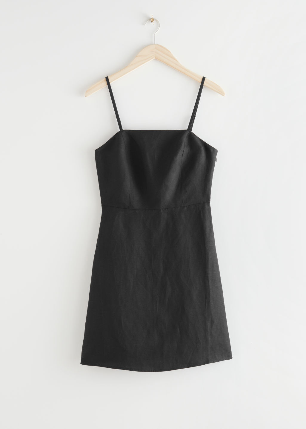 StillLife Front Image of Stories Fitted Linen-Blend Mini Dress in Black