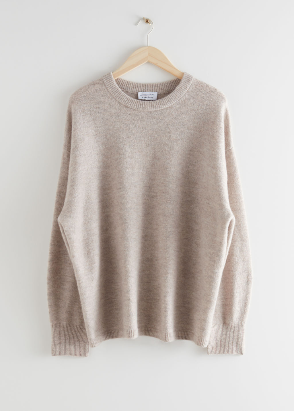 StillLife Front Image of Stories Oversized Wool Knit Jumper in Beige