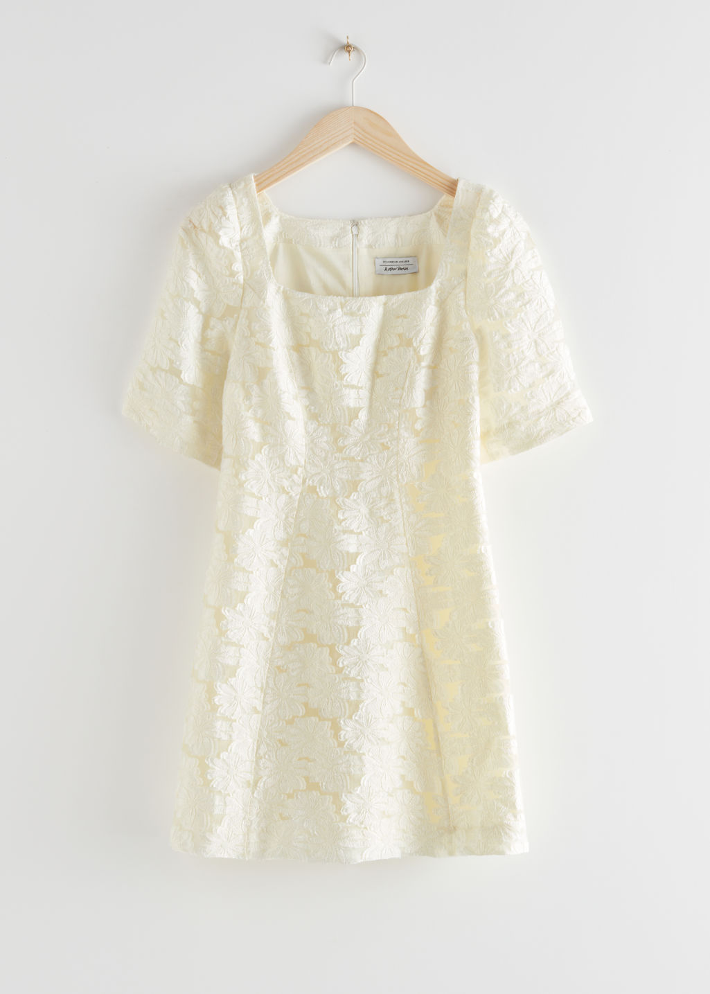 StillLife Front Image of Stories Flower Jacquard Mini Dress in White
