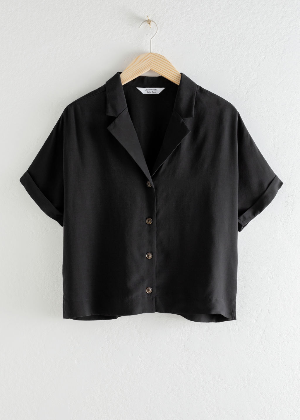 StillLife Front Image of Stories V-Cut Button Up Shirt in Black
