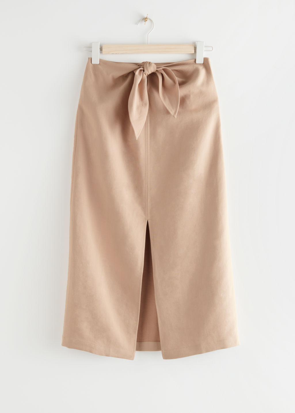 StillLife Front Image of Stories Front Tie Linen Blend Midi Skirt in Beige