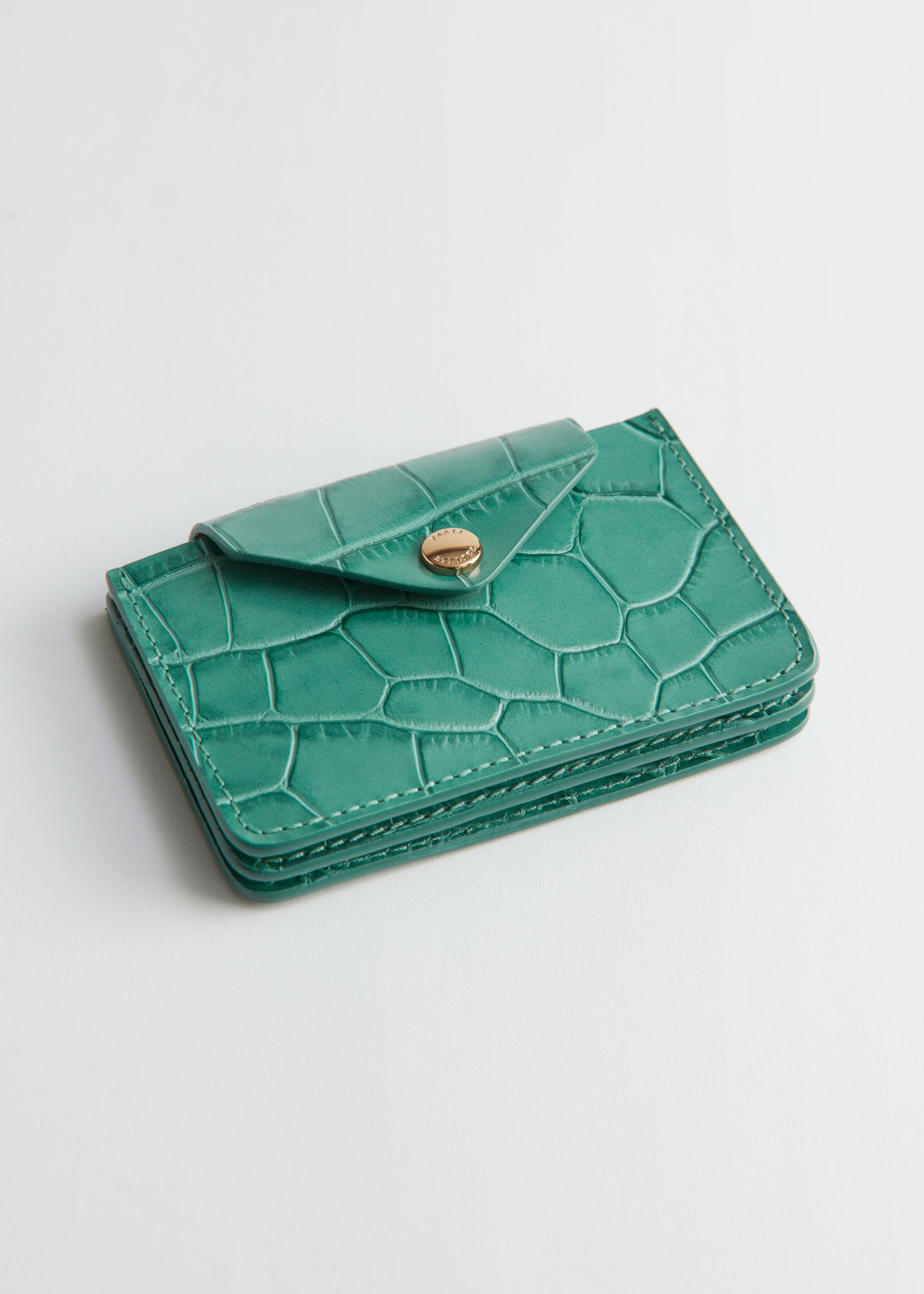 앤 아더 스토리즈 크록 엠보싱 카드 지갑 - 에메랄드 그린 & OTHER STORIES Croc Embossed Leather Card Holder