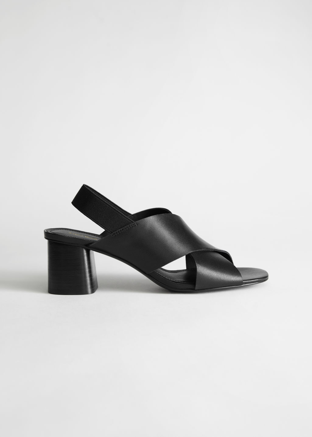 StillLife Left Image of Stories Criss Cross Heeled Leather Sandals in Black