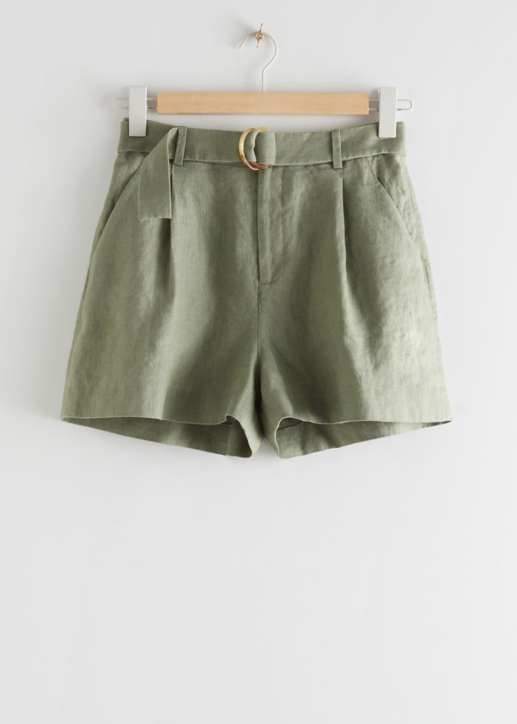 StillLife Front Image of Stories Belted Linen Pleat Shorts in Green