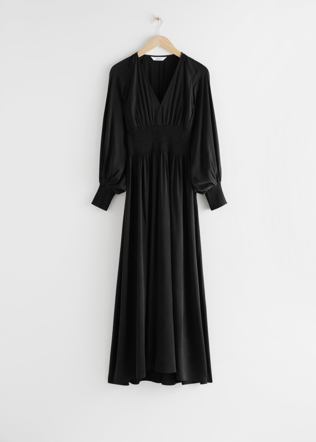 StillLife Front Image of Stories Smocked Waist Maxi Dress in Black