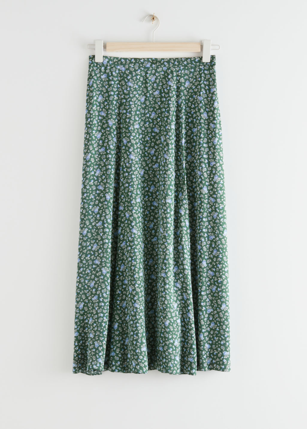 StillLife Front Image of Stories Viscose Midi Skirt in Green