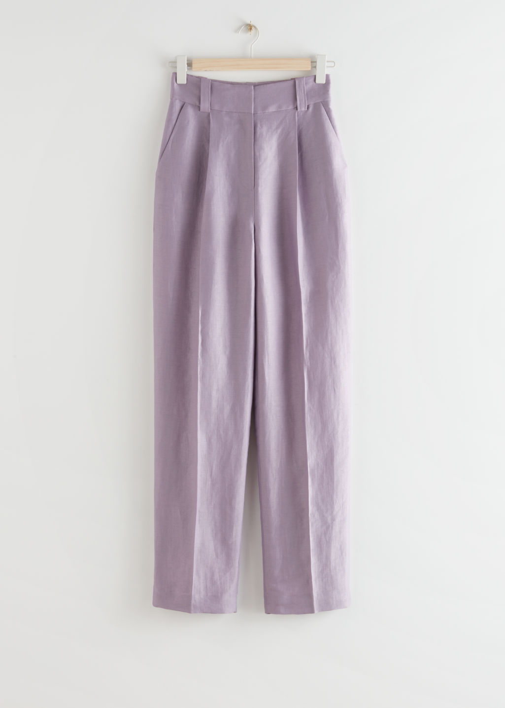 StillLife Front Image of Stories Wide Tailored Linen Blend Trousers in Purple