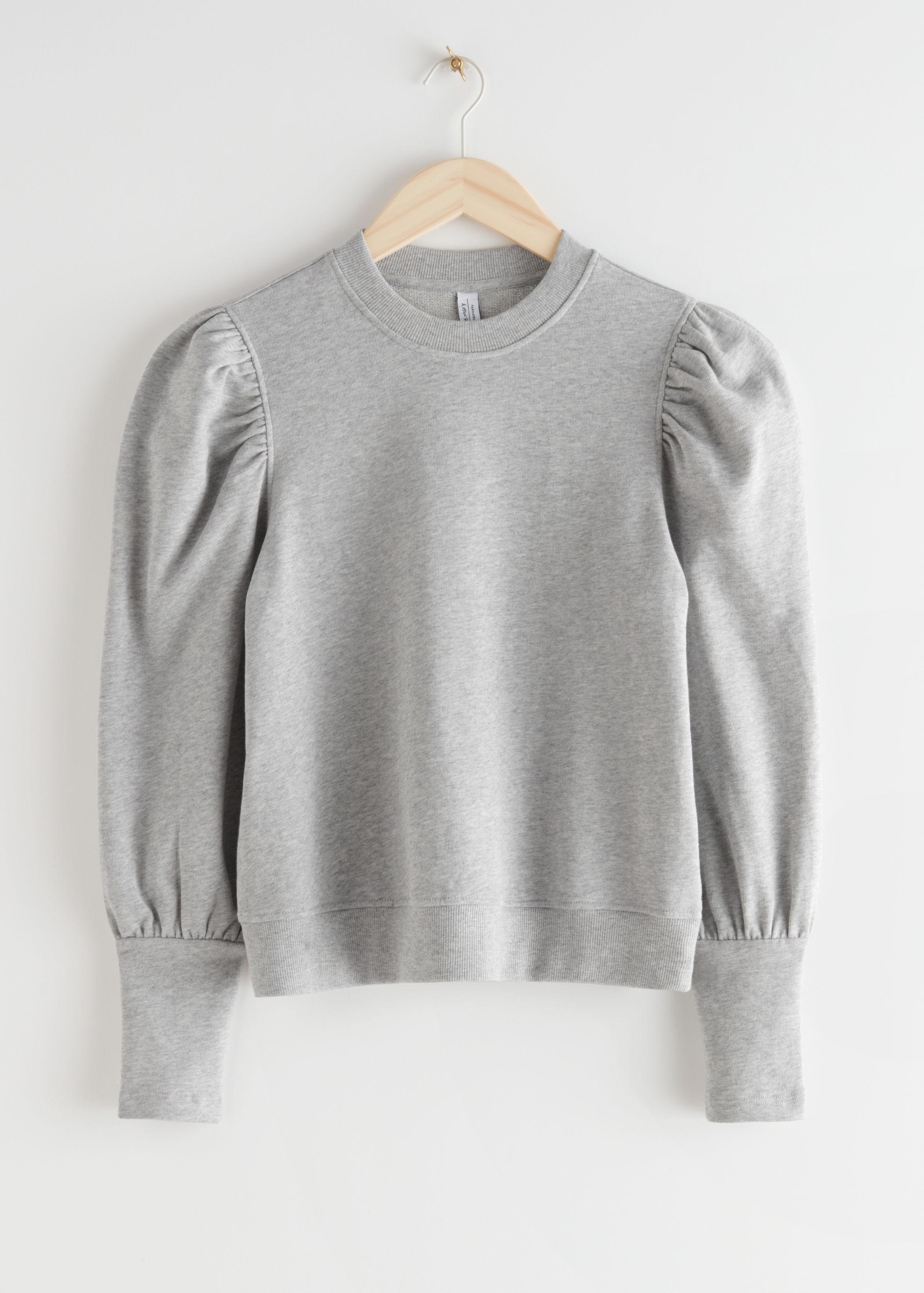 앤 아더 스토리즈 & OTHER STORIES Puff Sleeve Cotton Sweater,Grey Melange