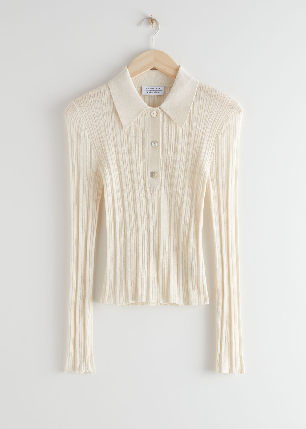StillLife Front Image of Stories Sheer Fitted Polo Top in Beige