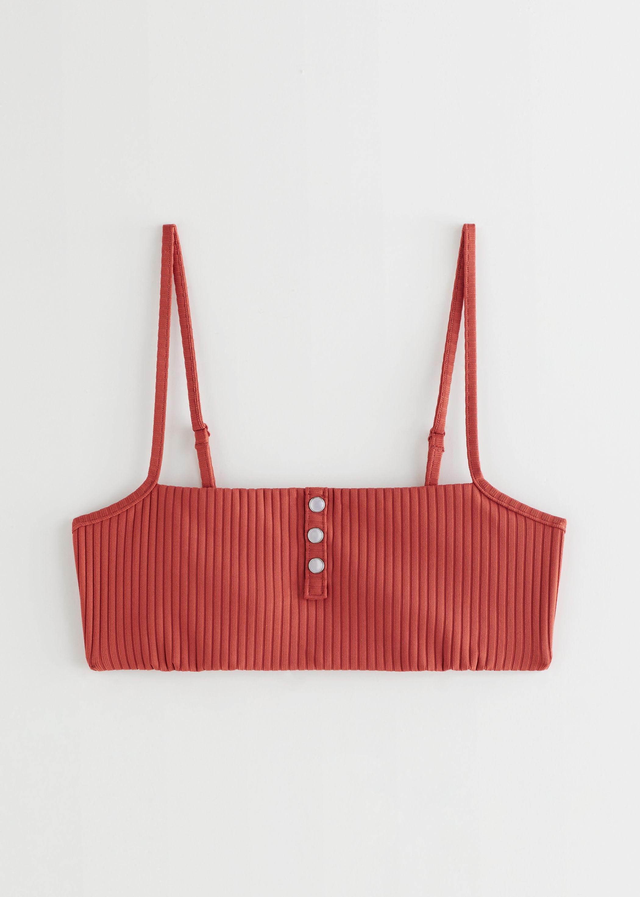 앤 아더 스토리즈 비키니 상의 & OTHER STORIES Pearl Button Ribbed Bikini Top,Orange