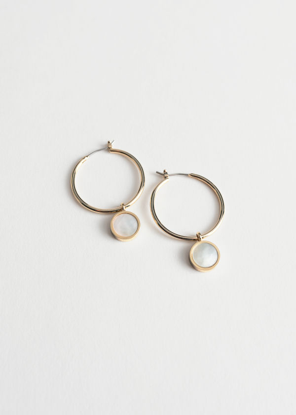 Shell Pendant Hoop Earrings