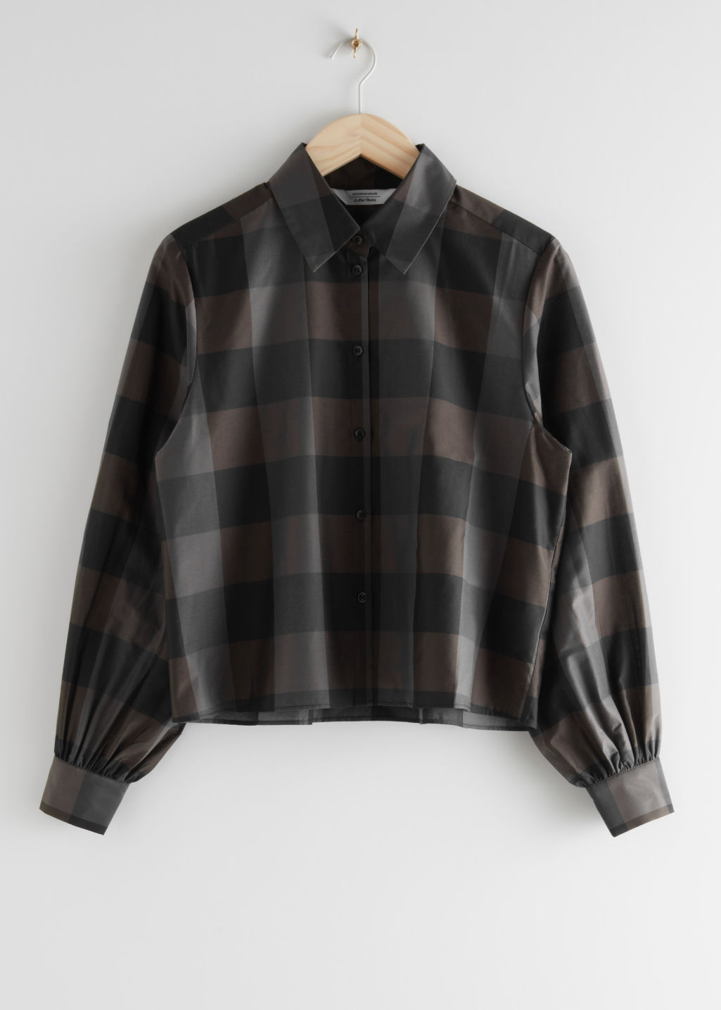 StillLife Front Image of Stories Boxy Button Up Shirt in Brown