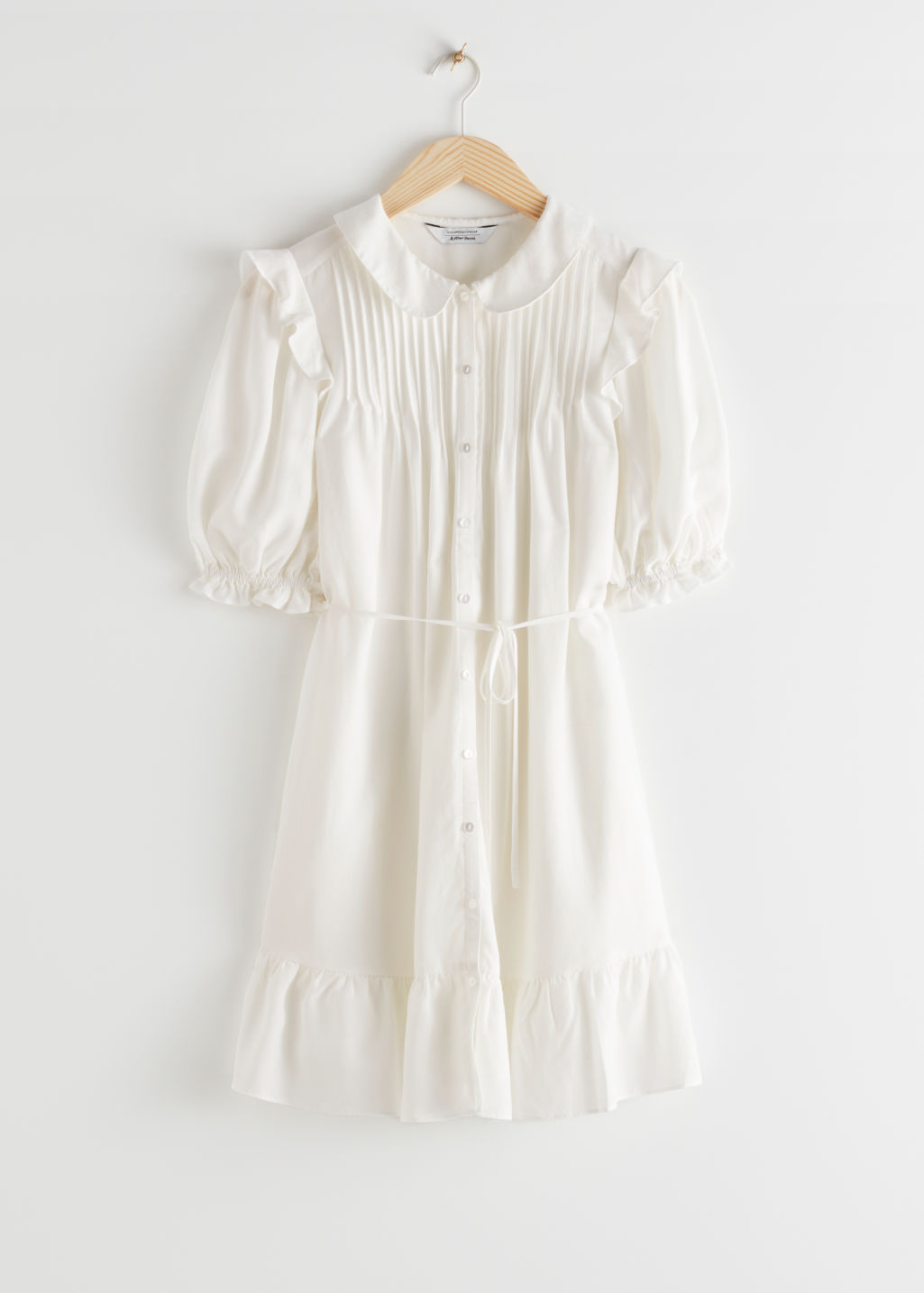StillLife Front Image of Stories Frilled Puff Sleeve Mini Dress in White