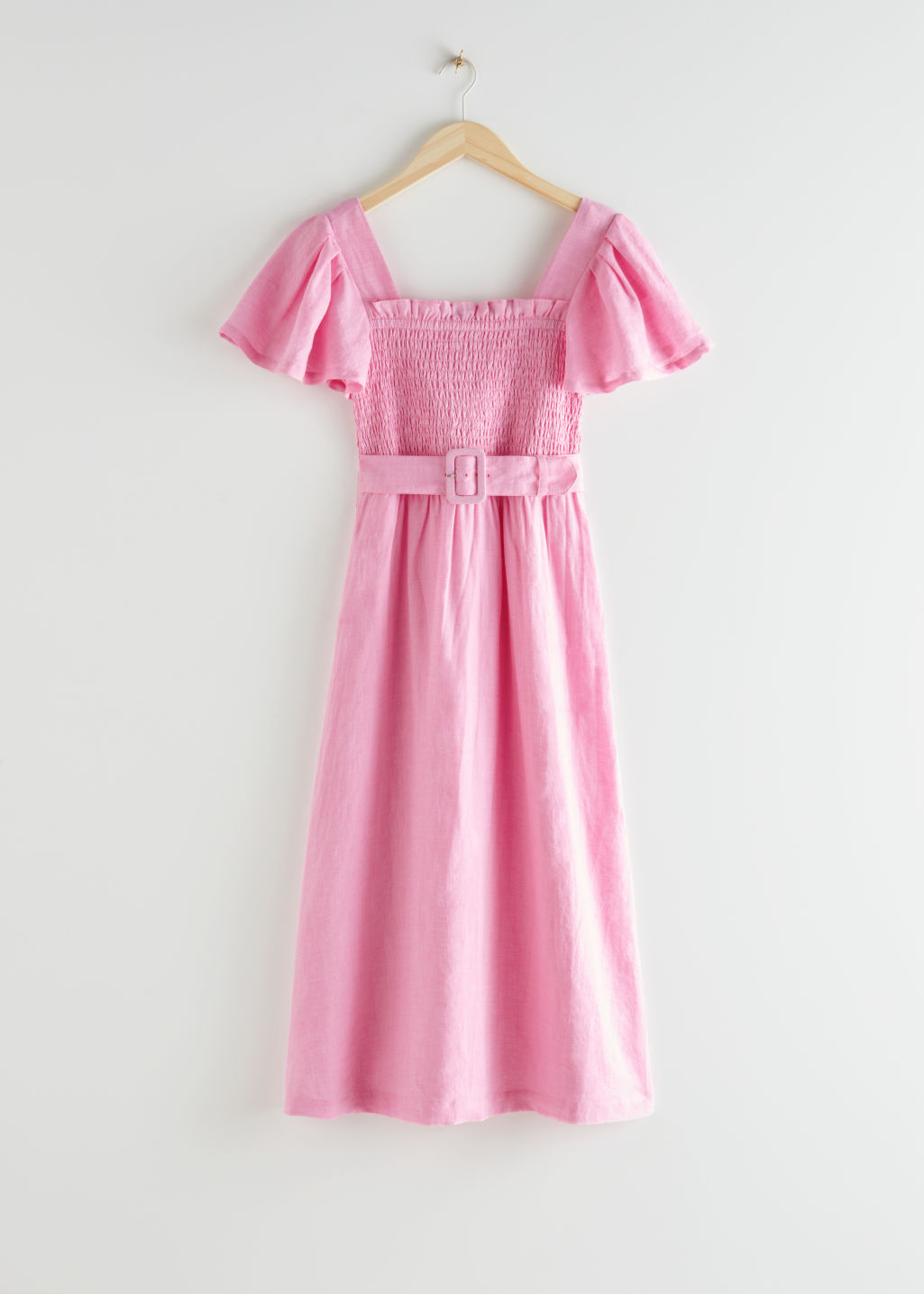 StillLife Front Image of Stories Linen Smock Midi Dress in Pink