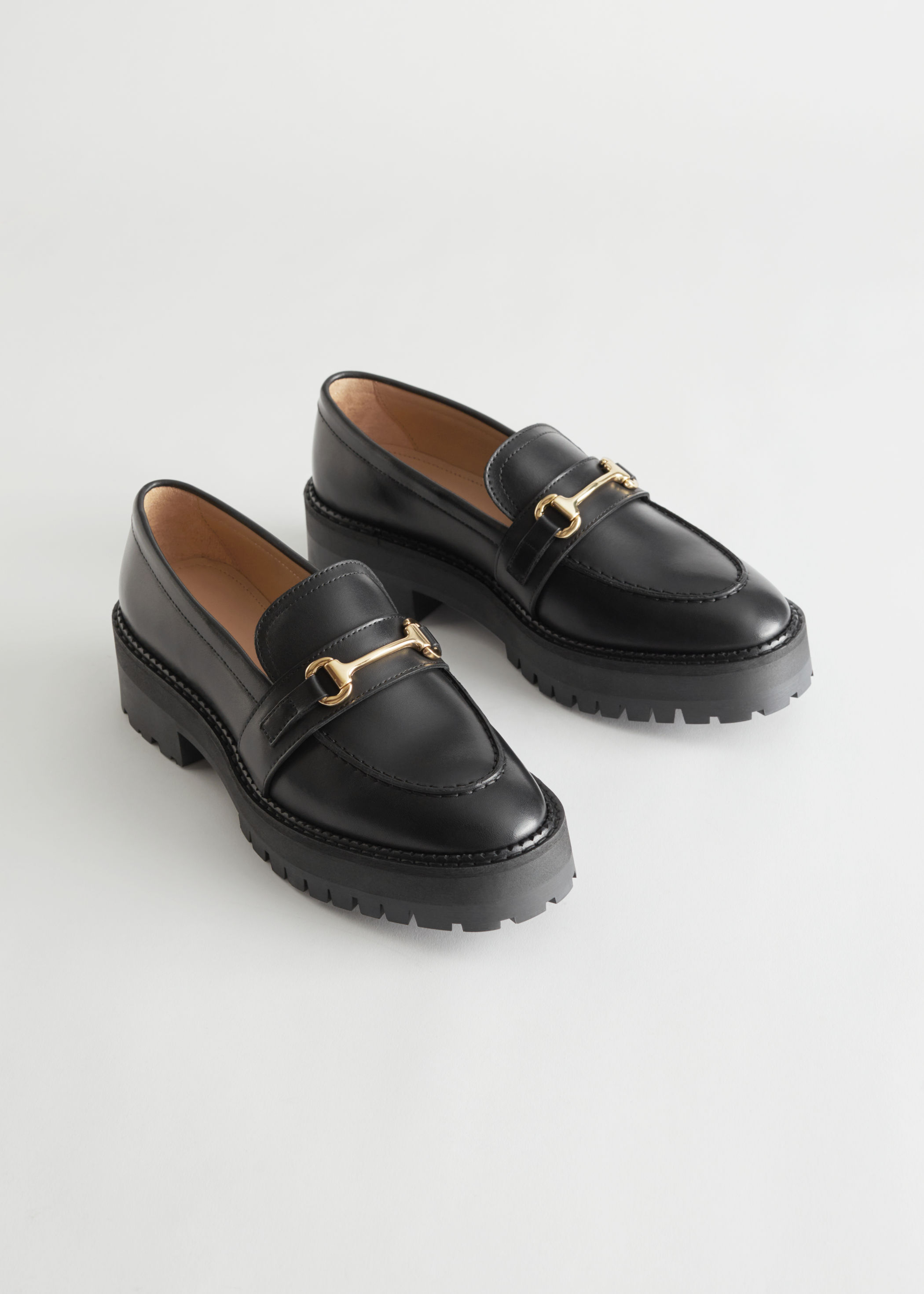Buckled Chunky Leather Loafers & other stories