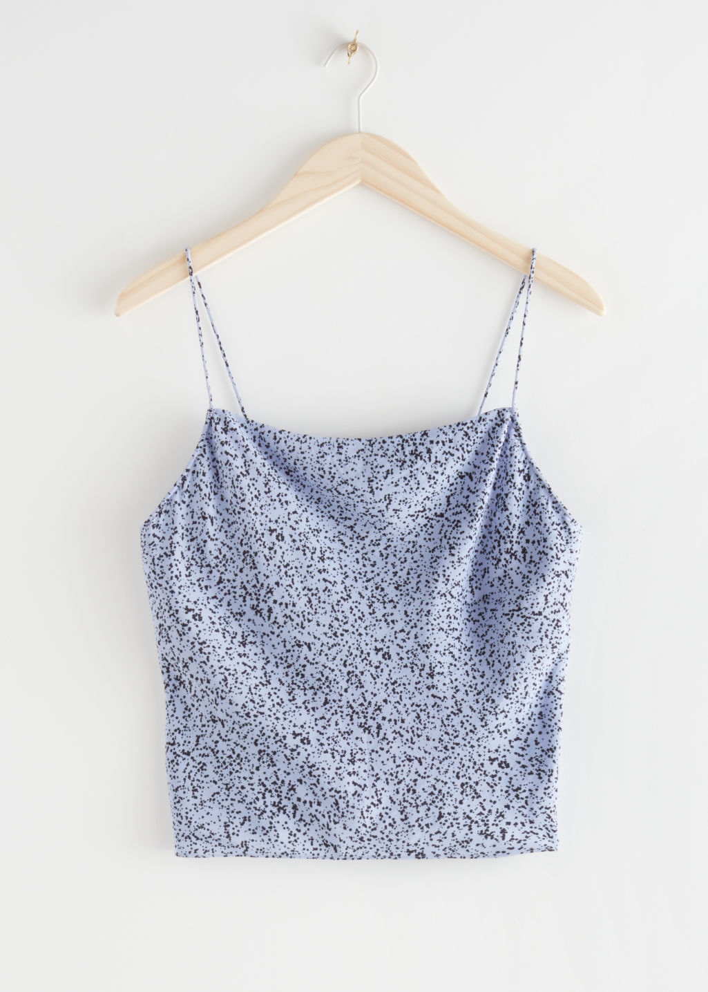 StillLife Front Image of Stories Satin Cowl Neck Tank Top in Blue
