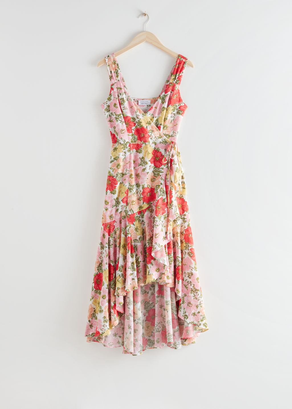 StillLife Front Image of Stories Sleeveless Midi Wrap Dress in Pink