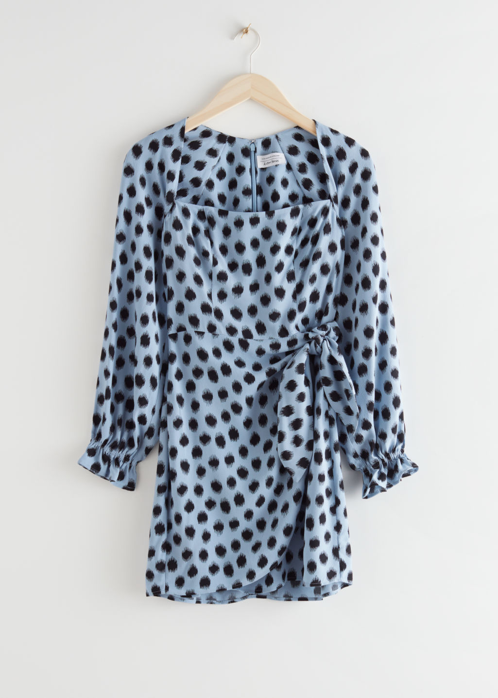 StillLife Front Image of Stories Flowy Leopard Print Mini Dress in Blue