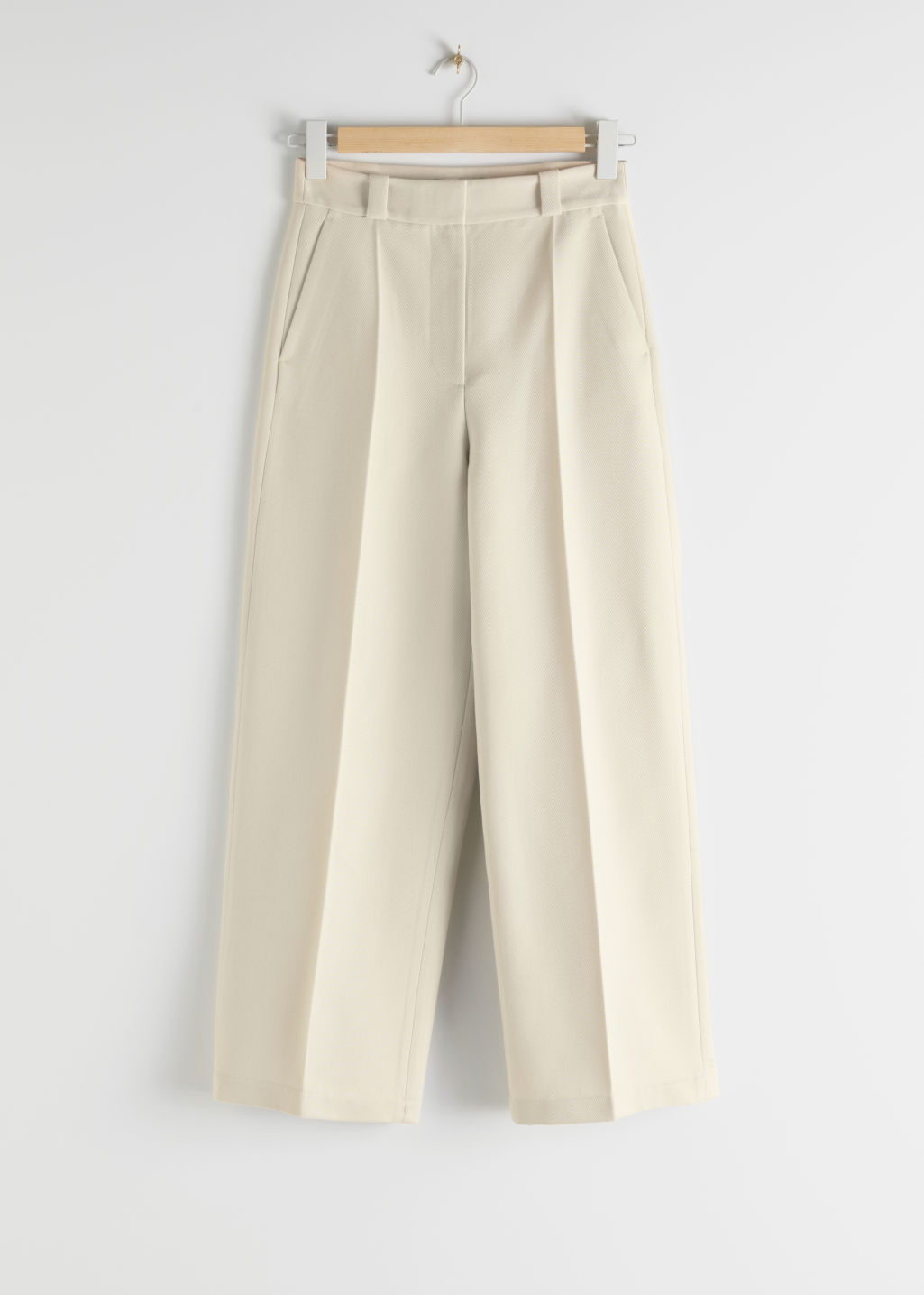 StillLife Front Image of Stories Wide Leg Wool Blend Twill Trousers in Beige