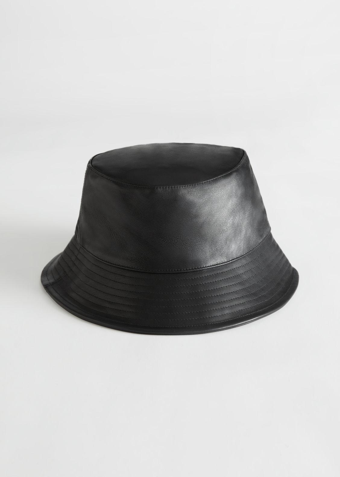 앤 아더 스토리즈 버킷햇 & OTHER STORIES Leather Bucket Hat,Black