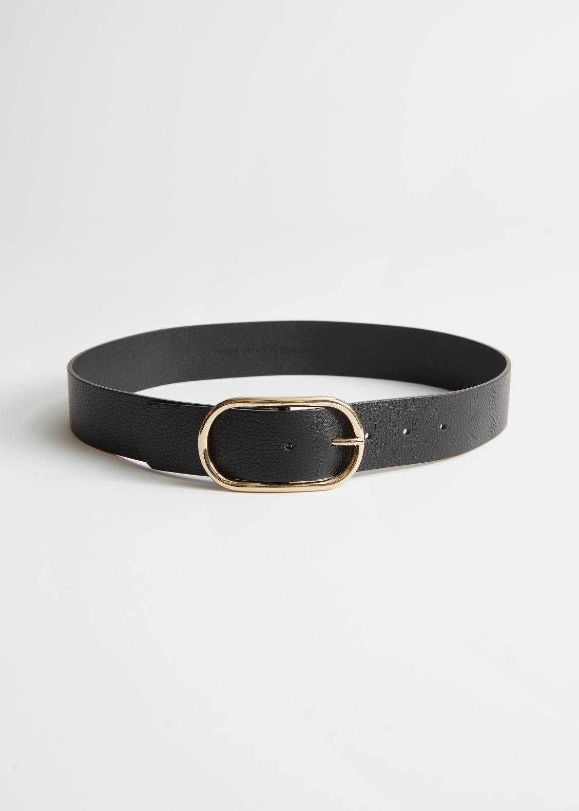 앤 아더 스토리즈 벨트 & OTHER STORIES Oval Buckled Leather Belt,Black