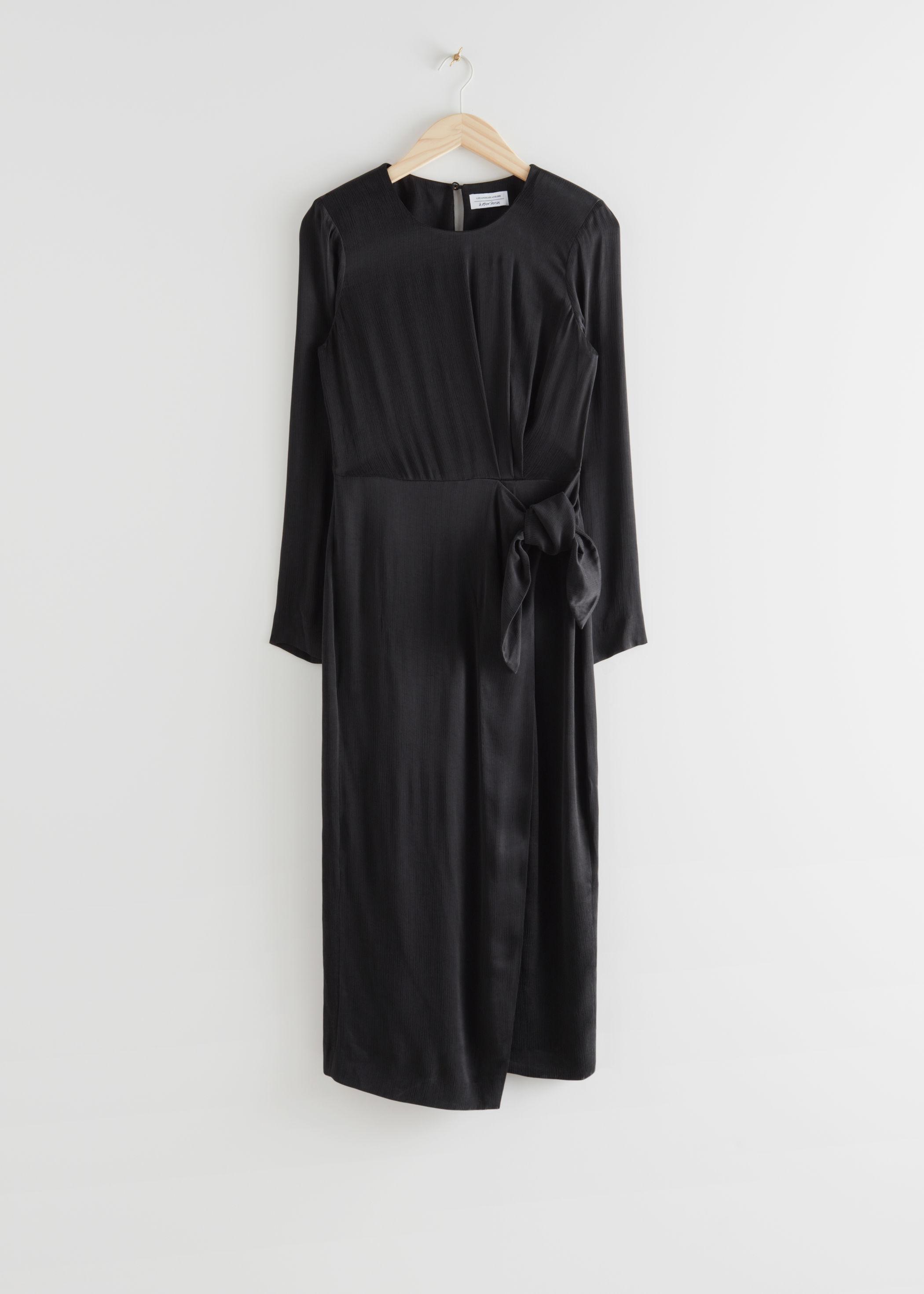 앤 아더 스토리즈 & OTHER STORIES Satin Side Knot Midi Dress,Black
