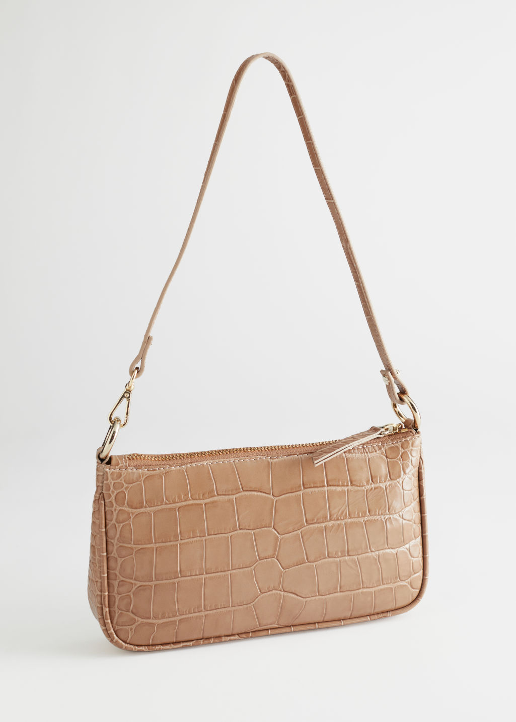 StillLife Left Image of Stories Croc Embossed Leather Shoulder Bag in Beige