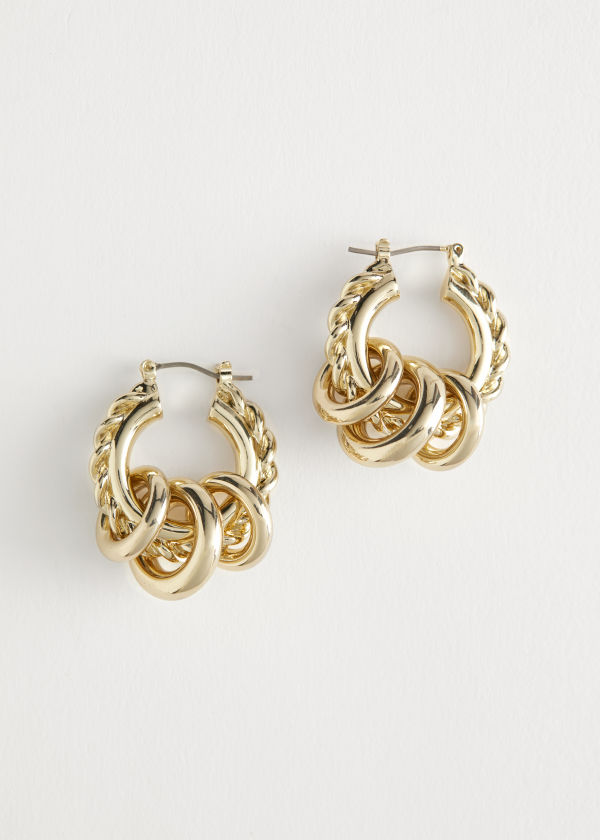 Chunky Multi Pendant Hoop Earrings