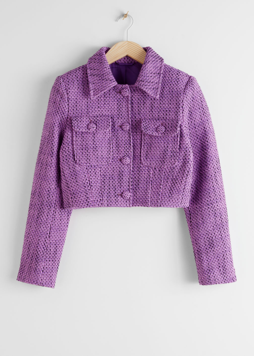 StillLife Front Image of Stories Cropped Tweed Jacket in Purple