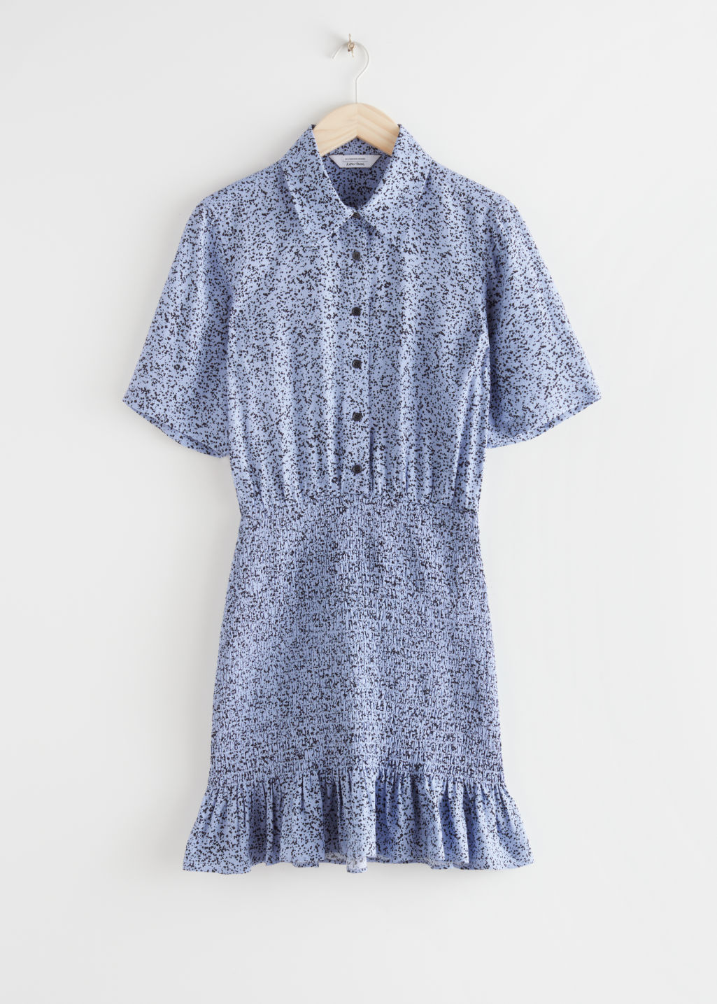 StillLife Front Image of Stories Smocked Mini Shirt Dress in Blue