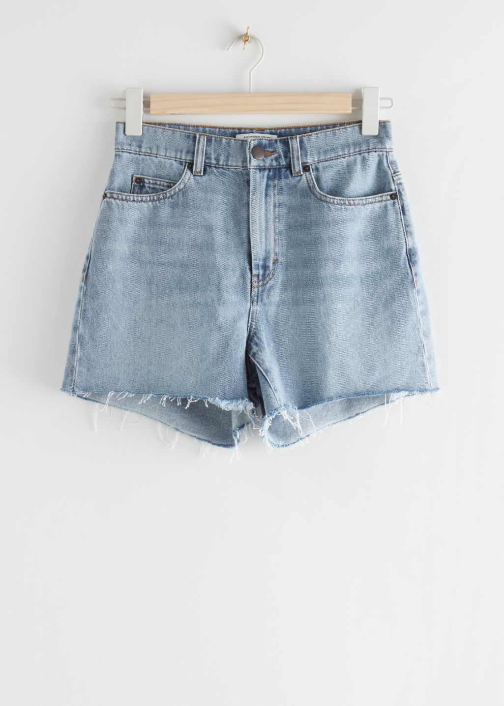 StillLife Front Image of Stories Frayed Hem Fitted Denim Shorts in Blue