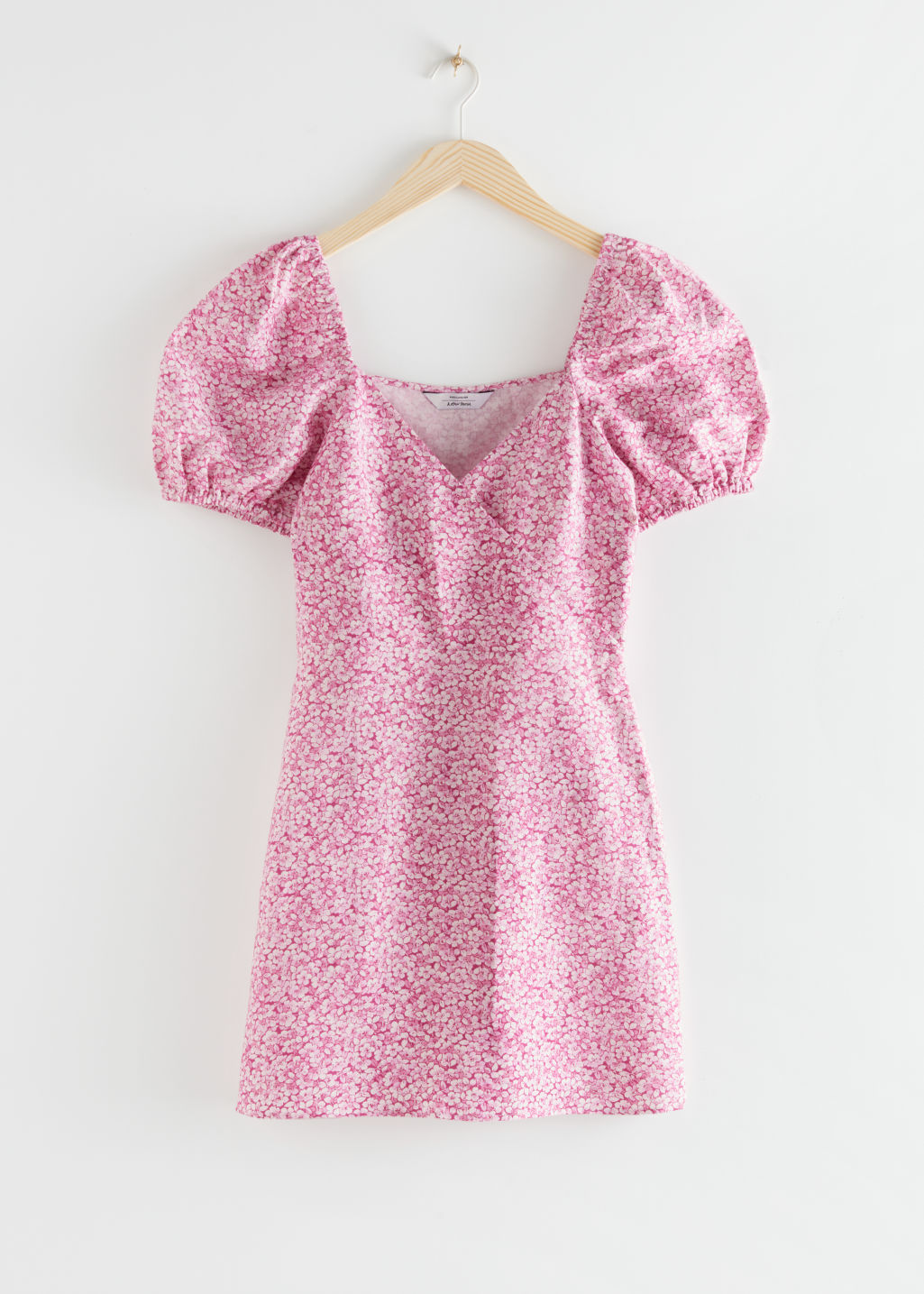 StillLife Front Image of Stories Fitted Puff Sleeve Mini Dress in Pink