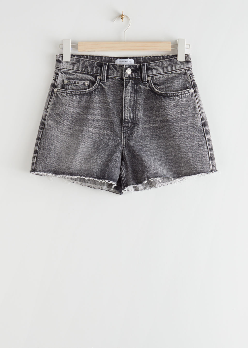 StillLife Front Image of Stories High Rise Cut Off Jeans Shorts in Grey