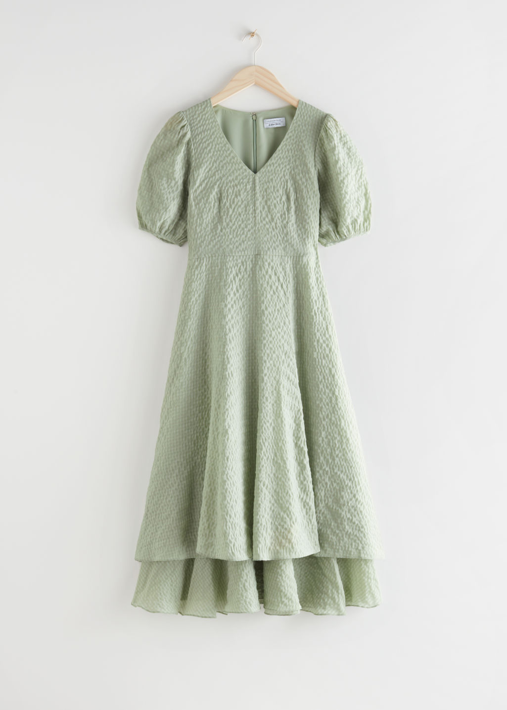 StillLife Front Image of Stories Puff Sleeve Double Layer Midi Dress in Green