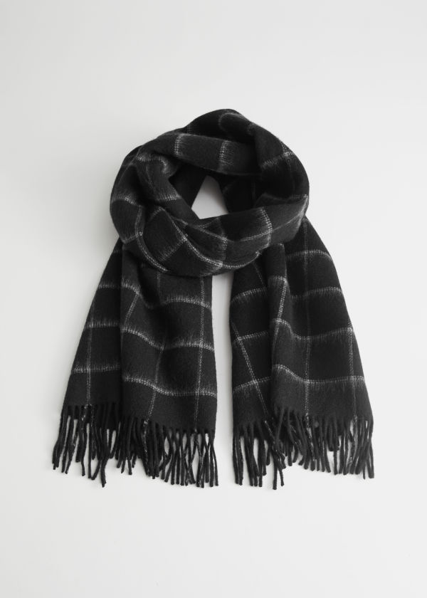 Fuzzy Wool Checked Scarf