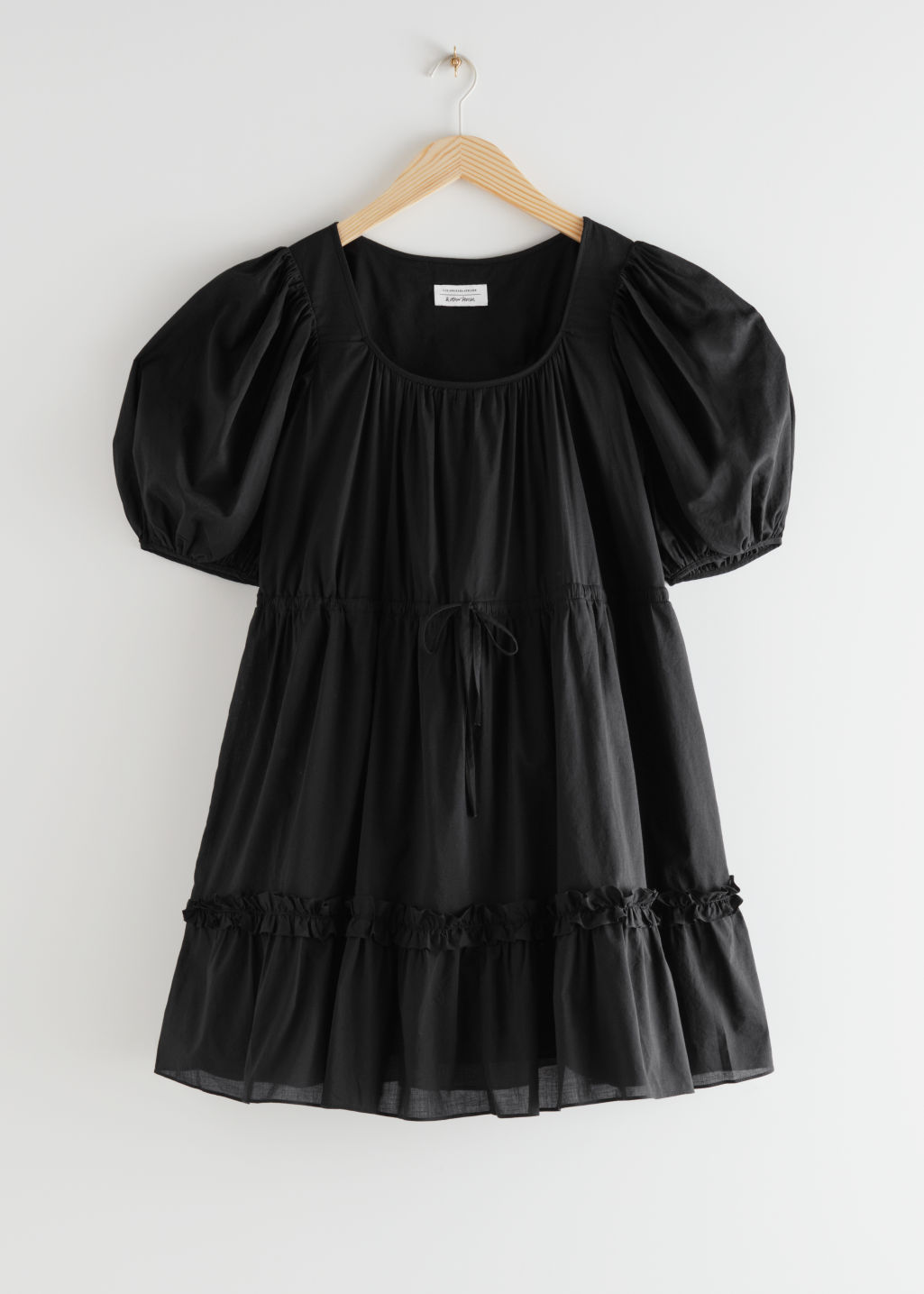 StillLife Front Image of Stories Voluminous Puff Sleeve Mini Dress in Black