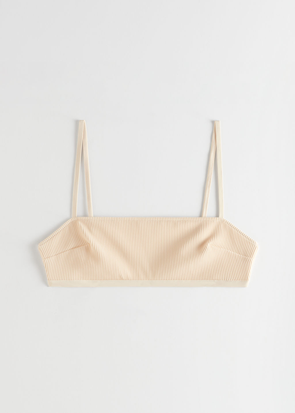 StillLife Front Image of Stories Ribbed Bandeau Bikini Top in Beige