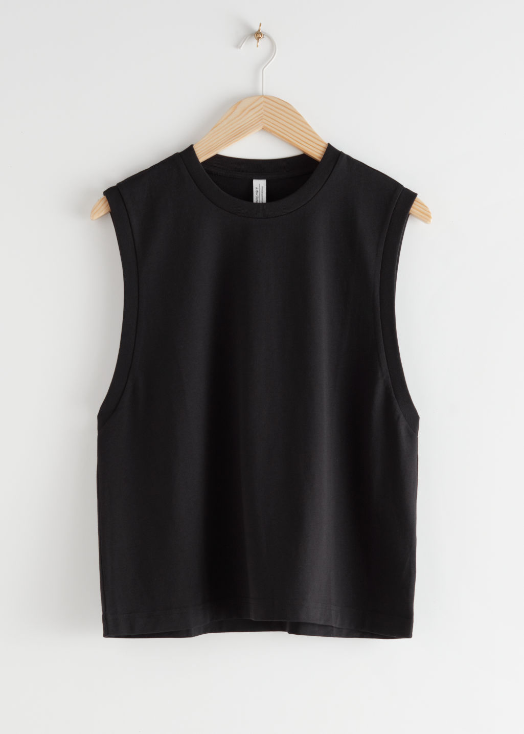 StillLife Front Image of Stories Organic Cotton Tank Top in Black