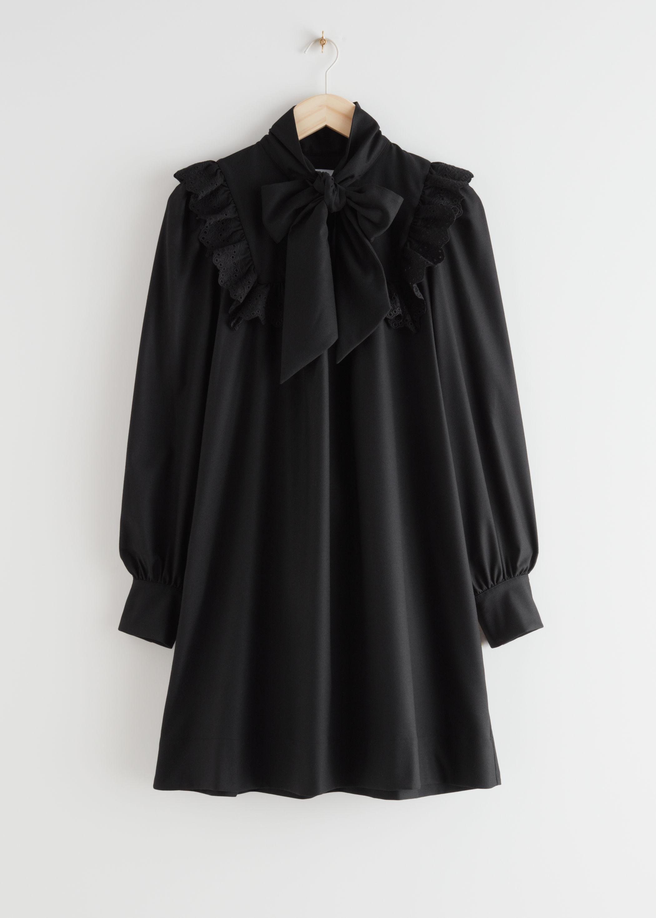 앤 아더 스토리즈 & OTHER STORIES Neck Bow Ruffle Mini Dress,Black
