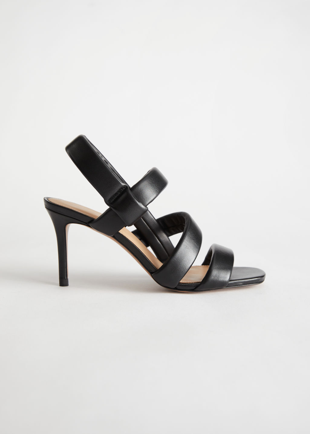 StillLife Left Image of Stories Padded Leather Heeled Sandals in Black