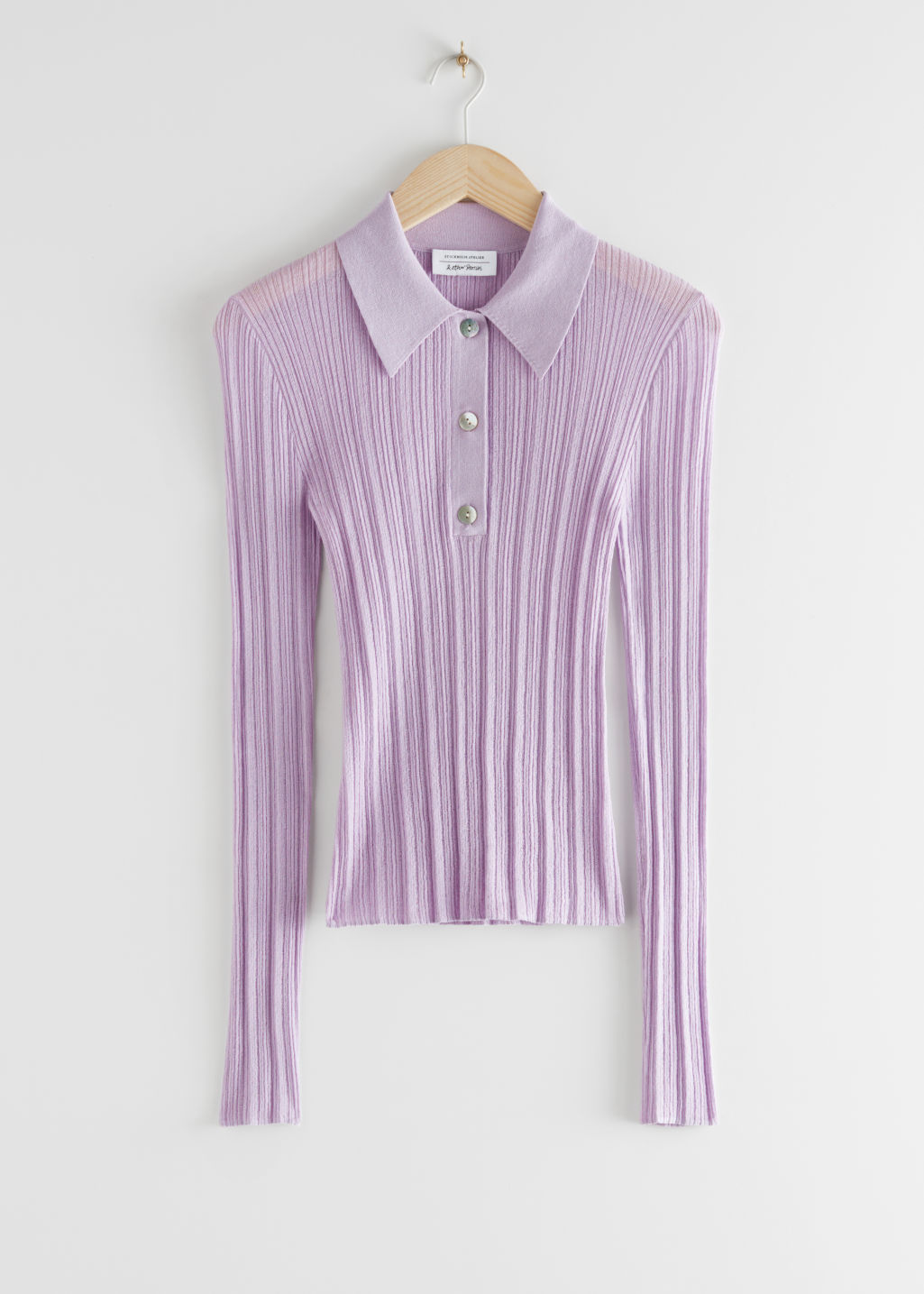 StillLife Front Image of Stories Sheer Fitted Polo Top in Purple